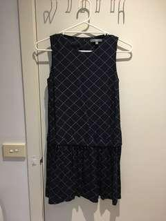 Uniqlo checkered checker navy blue dress work casual