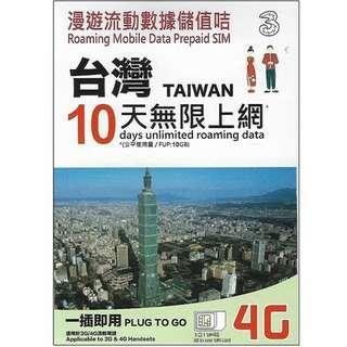Taiwan 10 days unlimited data sim card