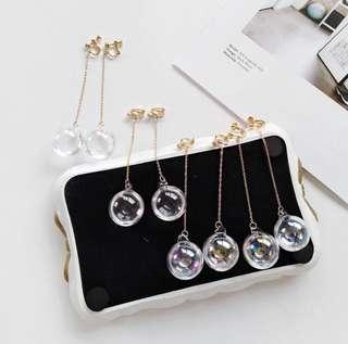 [INSTOCK] Clip On Transparent bubble ball dangling Earrings