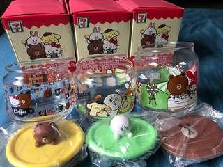 Line friends X Sanrio Characters GLASS CONTAINERS