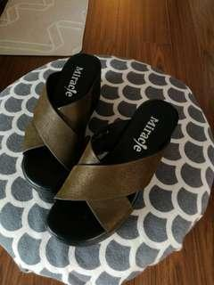 Wedges  leather upper 3 inches heel size 4