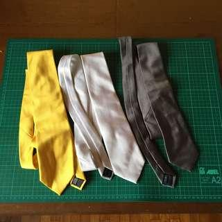 3 Items, 3x Neck Ties, Yellow White Blue, Used