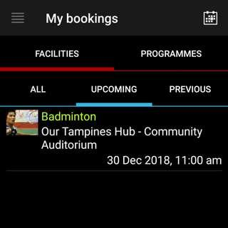🏸 30/12: badminton court @ tampines hub