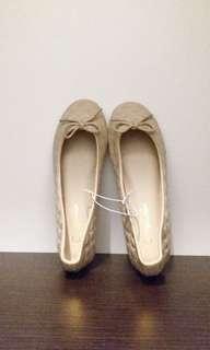 全新 marcha 平底鞋 圓頭鞋 蝴蝶結 菱格 米色