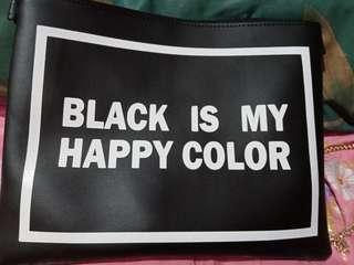 "TUMBLER CLUTCH ""BLACK IS MY HAPPY COLOR"""