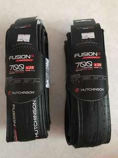 Hutchinson Fusion 5 performance 700C 25mm road tubeless tyres per pair