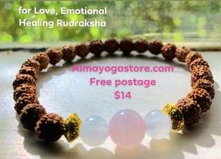 Rudraksha Bracelet, Mala Bracelet, Pink Quartz and Monstone Gemstone