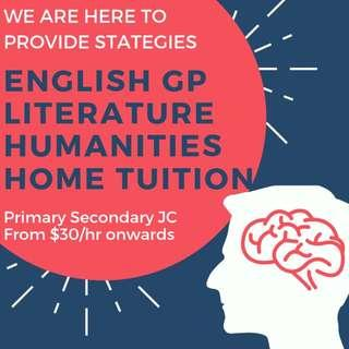 Experienced Tutors | English Literature GP General Paper Home Tuition | Primary Secondary JC English Home Tutor | PSLE A O N Level English Literature Tuition Teacher | JC1 JC2 | History Tuition | Preschool | For Adult | Humanities | AEIS
