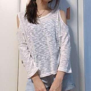Sheer White Long-sleeved Top