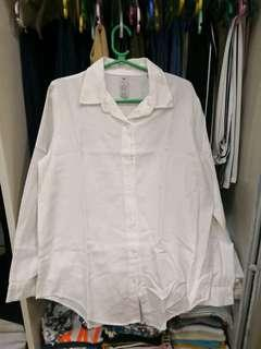 Cotton fabric white long sleeves