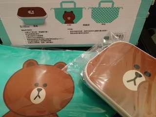 Line 熊大 飯盒 便當盒 食物盒 連 飯盒袋 OL 小朋友 可愛