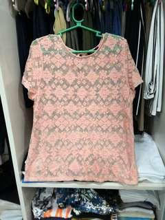 FOREVER21 Peach lace top