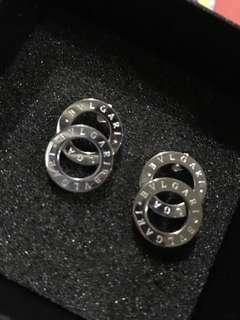 AUTHENTIC QUALITY AND NON TARNISH BVLGARI SILVER EARRINGS WITH BOX