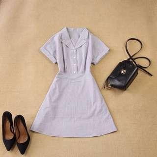 🚚 Instock! - BNIP Monochrome Black White Striped Button Down Short Sleeve Skater Dress
