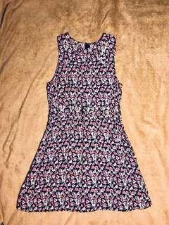 Dark Floral Cut-Out Dress