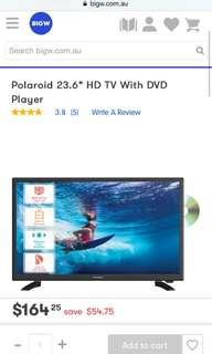 "Polaroid 23.6"" HD TV With DVD Player"