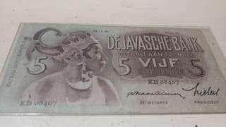 Uang kuno seri wayang 5gulden..kondisi Seperti d pic