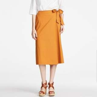 🚚 UNIQLO Mustard High Waist Wrap Midi Flare Pants