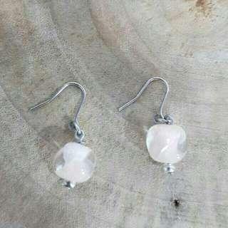 🚚 Japanese Style Ear Ring 日本粉色琉璃珠耳環