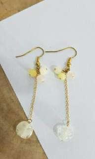 🚚 Japanese Ear Ring 日本氣質琉璃串珠垂墜耳環