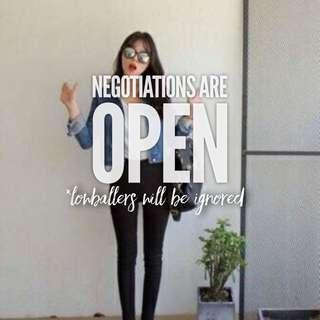 Negos are open for all items - ends 16 Jan