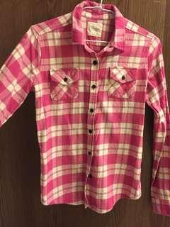 粉色格紋襯衫 女