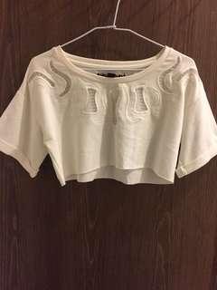 全新少女辣妹必備 鏤空短版白色上衣 超好看💘