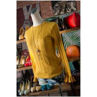 🚚 韓版冬裝內搭純色荷葉邊袖圓領針織衫女裝~現貨免運費