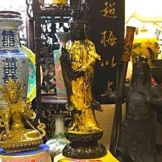 Antique Ching Bronze Quan Yin Figuring