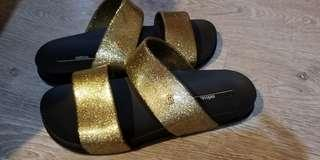 Melissa gold glitter flats size 9(40) NEW authentic