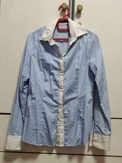 G2000 baby blue striped long sleeve shirt