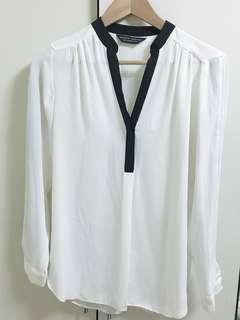 🚚 韓版黑領白雪紡襯衫