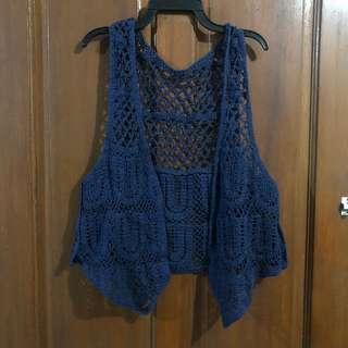 Blue Crocheted Vest