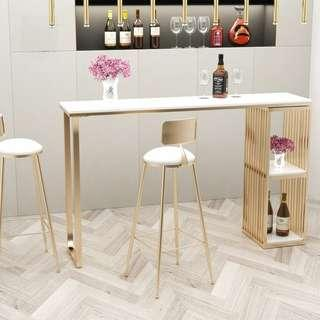 Minimalist Modern Long Bar High Table with Marble Top Finish