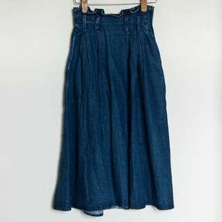 丹寧 牛仔 傘裙 韓版 高腰 顯瘦大擺 長裙 半身裙
