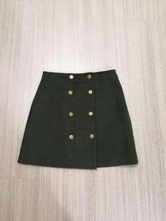 Army green button skirt