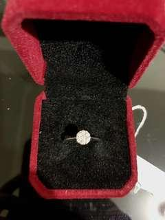 Illusion diamond ring 0.70 ct face in 18k white gold size 5