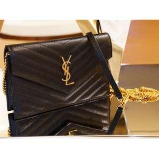 Saint Laurent 393953 Cassandre Chain Bag 小型鍊帶肩背包 黑 金鍊
