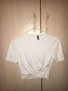 White Knotted Crop Top