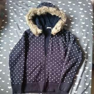 GU Japan Navy Blue White Polka Dots Fleece lining Jacket with Fur Lined Hoodie