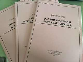 H2 physics nyjc practice papers and topical questions package