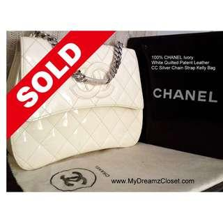 SOLD - 100% CHANEL Ivory White Quilted Patent Leather CC Silver Chain Strap Kelly Bag