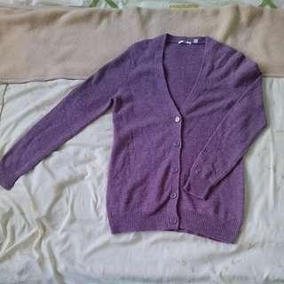 Uniqlo Purple V-Neck Button-Up 100% Wool Cardigan