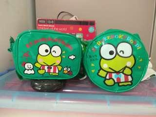 正版 絕版日本Sanrio 91年Keroppi  青蛙 腰袋 圓形手袋各一