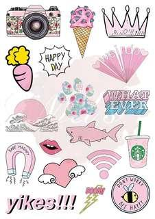 Pink Series Luggage Sticker (Type 1) • Tumblr Sticker Camera Diamond Ice-cream Crown Carrot Happy Day Weirdo Japan Wave Flora Paw Whatever Babe Magnet Lips Heart Wifi Shark Starbucks Yikes Boom Don't Worry Bee Happy