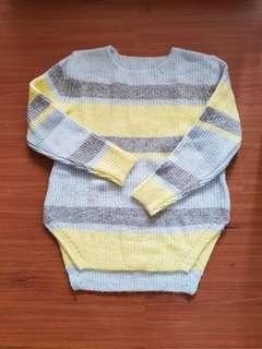 🚚 韓國品牌黃藍條紋毛衣