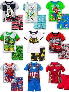 Captain America Ironman spiderman paw patrol McQueen Mario ninja turtle  dinosaur micky mouse boy homewear set f290fa78b