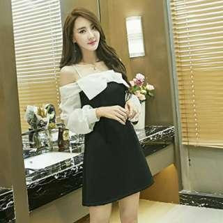 🚚 sweet off shoulder ribbon chic formal dress sleeveless