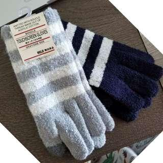⛄Winterwear sales*  Muji Wool Knitted Black and White Striped Touch Screen Gloves