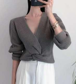Stylish Knitted V neck top, Grey